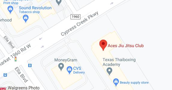 Aces Jiu Jitsu Club Spring Houston Texas Map Pic